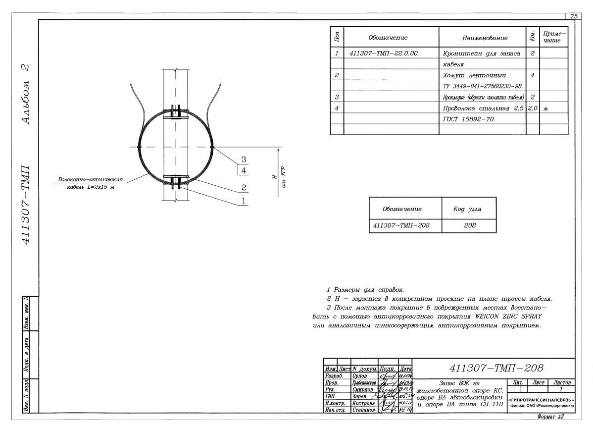 Запас ВОК на железобетонной опоре 411307-ТМП-208